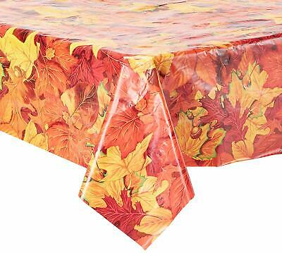 Fall Themed Parties (Stunning 9ft x 4.5ft Fall Colors Leaf Theme Plastic Tablecloth Party Table)