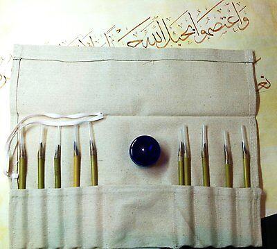 Bamboo Calligraphy Set (Arabic Calligraphy Set of 10 Bamboo Pens / 30ml Plastic Ink (Black) Jar  )