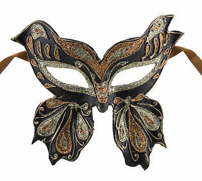 Mask from Venice Colombine Farfella Golden Copper Butterfly in Paper Mache 22510