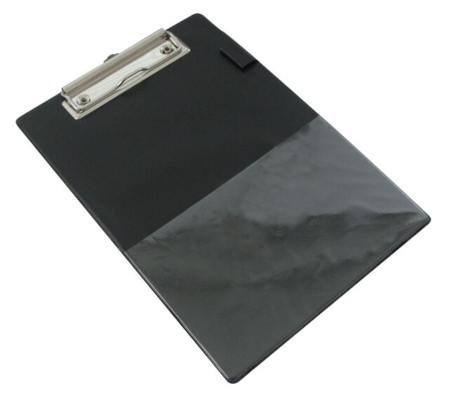 Rapesco A5 Clipboard Black PVC Covered Clipboard With Pen Holder and Pocket