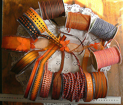 HALLOWEEN Ribbons ORANGE BLACK 15 Mix Widths 3Met Length May