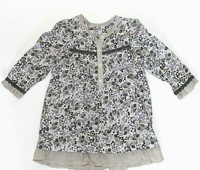 IKKS 18 Months Floral Lavender Gray Dress Ruffles Peasant  French  for sale  Shipping to India