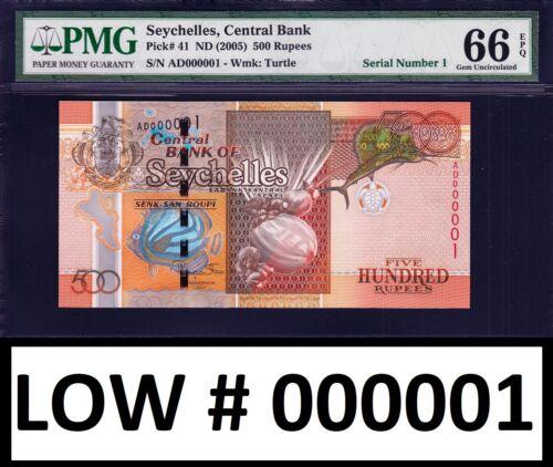 Seychelles 500 Rupees ND (2005) LOW Serial 000001 Pick-41 GEM UNC PMG 66 EPQ