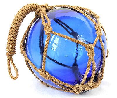 Fischerkugel ca. 15cm Glas Blau eingeflochten in einem Netz aus Hanf (Tampen)