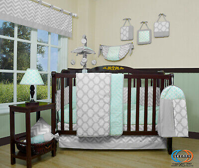 13PCS Soft Mint Green Baby Nursery Crib Bedding Sets  Holiday Special