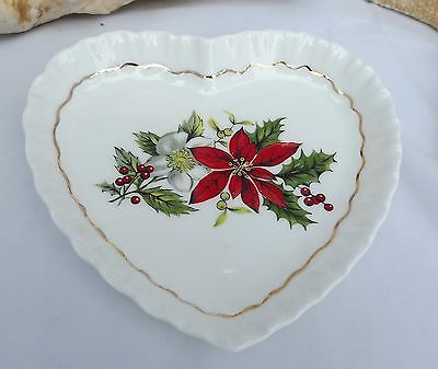 ROYAL ADDERLEY POINTSETTIA  HEART SHAPED DISH AND SMALL ROUND BOWL GENTLY USED