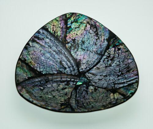 Vintage Handmade Triangular Bowl w/Abalone Shell Pieces