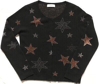 Black Cardigan Metallic Thread Stars All Over In Bronze & Silver L/14 Wool Mix