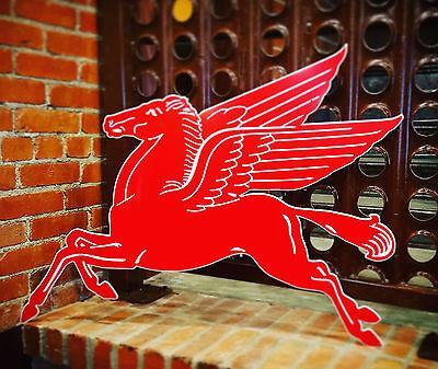 """Mobilgas Mobil Gas Oil Red Pegasus Metal Steel Sign Large 37"""" Vintage Garage"""