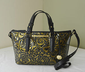 Brahmin Gold Rousseau Rose Floral Embossed Mini Asher Satchel Crossbody Bag | EBay