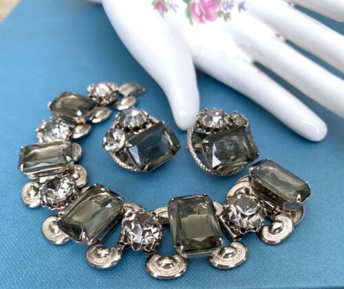 Vintage Earrings Bracelet Smokey Topaz Rhinestone Set