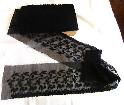 13m60 of Large Black Lace Wide 170 mm Embroidery on Tulle Stretch