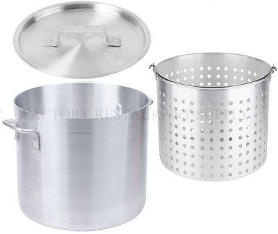 80 Qt 4mm Aluminum Stock Pot Commercial Lid Steamer Basket Soup Deep Fryer Fish