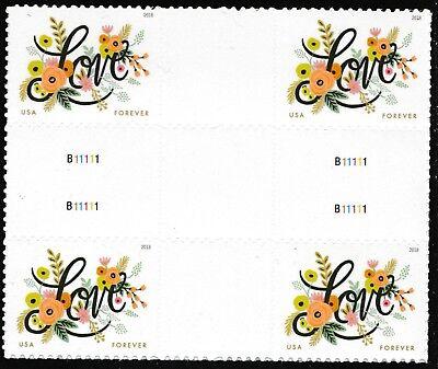 US 5255 Love Flourishes forever cross gutter block MNH 2018