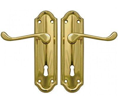 POLISHED BRASS NAPOLI SUITE QUALITY DOOR HANDLES LEVER LOCK SET