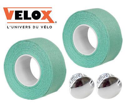 Velox Bianchi Celeste Cotton Handlebar Tape + Chrome End Plugs Vintage Style