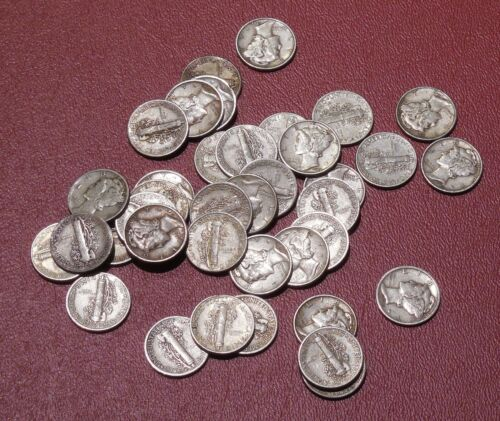 Bag of 100 $10 MERCURY Dimes 90% SILVER * 1916 - 1945 P, D, S  * IN STOCK NOW