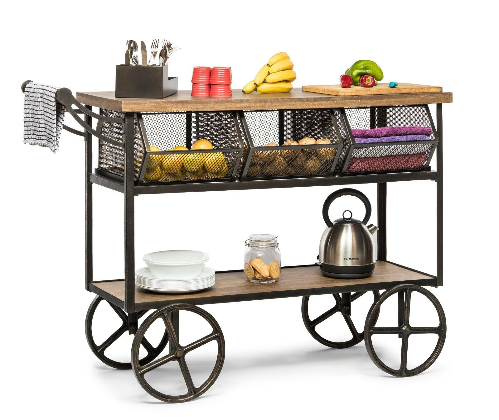 Picture of: Kitchen Trolley Island Bench Storage Organiser Drawer 3 Shelves On Wheels Ebay