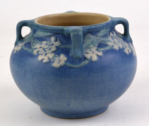 NEWCOMB COLLEGE POTTERY FOUR HANDLED VASE FLORAL DECORATION 1921