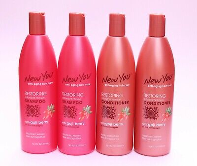 4PK NEW YOU GOJI BERRY RESTORING SHAMPOO CONDITIONER ANTI-AGING HAIR CARE 16.9OZ Anti Aging Restorative Shampoo
