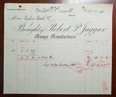 1910 Robert P. Jaggar, Mungo Manufacturer, Providence Mills, Ossett Invoice