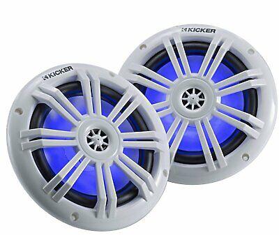 "Kicker KM604WL, KM Series 6.5"" Marine Coaxial Speakers w/ Blue LED (45KM604WL)"