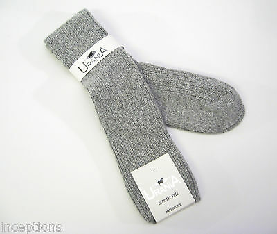 Urania Italy Ladies OVER Knee Socks Angora Blend Basketweave Grey - - Ladies Basketweave