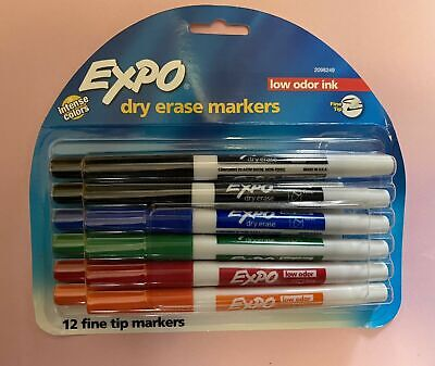 New Expo Low Odor Ink Dry Erase Markers Fine Tip Assorted Intense Colors 12 Pack