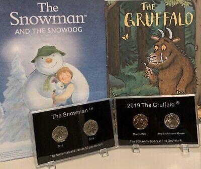 2018 2019 The Snowman & The Gruffalo BUNC 50p Coin In 2 Display Case ((4 Coins))