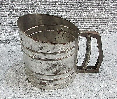 Foley Sift Chine squeeze handle style old farm kitchen tin flour sifter FREE S/H