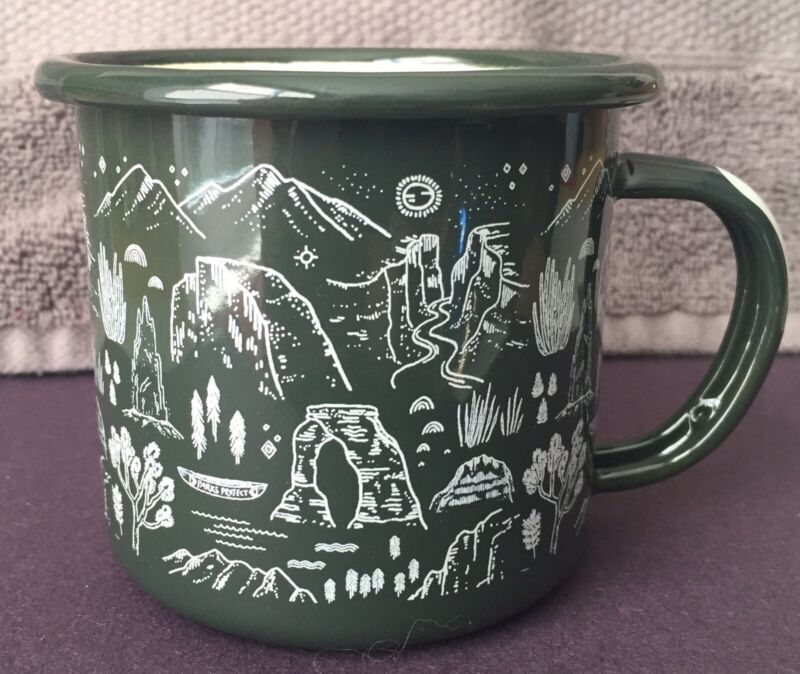 Green Enamel Parks Project Cup Mug. Zion, Joshua Tree, Arches USA National Parks