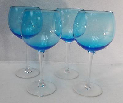 Unknown Manufacturer crystal BLUE BOWL Set of 4 Balloon Wine Glasses  8-3/4""