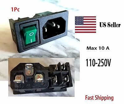 Green Rocker Switch Panel IEC320 C14 Inlet Power Socket On/Off SPST AC 120V 10A