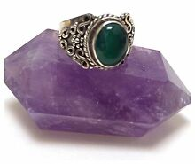 NEW Unisex Green Onyx Gemstone Crystal & Sterling Silver Ring RRP $90 North Melbourne Melbourne City Preview