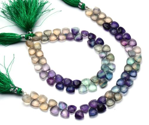 Natural Gem Multi-color Fluorite Faceted 8MM Size Trillion Shape Beads 8.5 Inch
