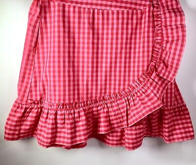 Draper James ELOQUII Women's 22 Gingham Dolly Skirt Red/Pink Chec w/Ruffle New