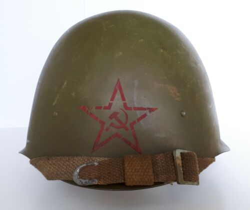 Original WWII Steel Helmet SSh-40 Battle Relic Red Star Paint Russia Army WW2