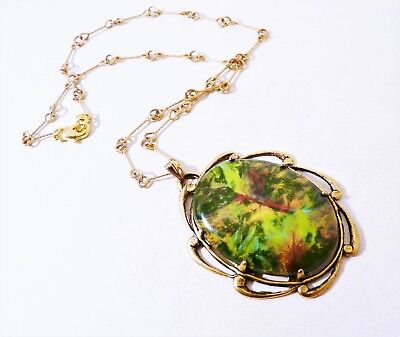 Old Fashion Fired Ceramic Cameo Set Pendant Necklace 17 inches ()