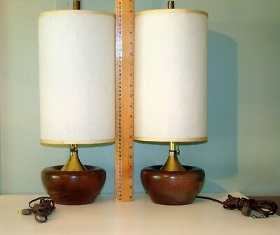 Reduced Vtg Pair Mid Century Danish Modern Walnut?Teak? Wood Table/Bedroom Lamps