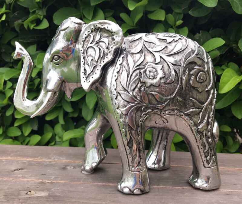 Elephant Statue New Year TRUNK UP Figurine Feng Shui Lucky Silver Home Decor