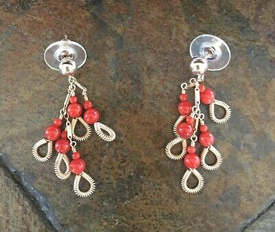 Miguel Ases 14Kt Gold Coral Dangle Ear Rings Miguel Ases Dangling Earrings