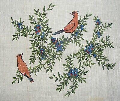 - Vintage Linen Kitchen Tea Towel Birds and Berries