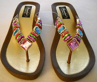 GRANDCO SANDALS WEDGE HEEL THONG BLING Brown Frosted & JEWELED DRESSY Flip Flops - Dressy Flip Flops