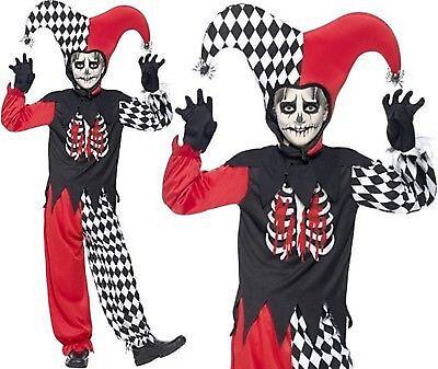Jungen Furchteinflößender Narr Clown Halloween Kinder Kostüm Verkleidung Horror (Kinder Narr Kostüme)