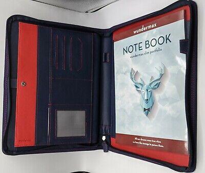 Wundermax Blue Slim Portfolio Padfolio Phone Tablet Pockets Full Note Pad New