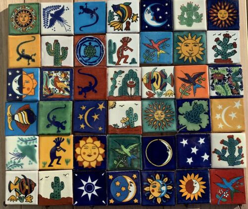 """100~Talavera Mexican pottery 2"""" Tile assorted Southwest astronomy birds fish"""