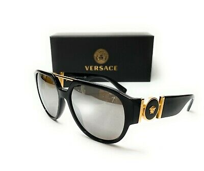 Versace VE4371 GB1 6G Black Grey Mirror Lens Men's Phantos Sunglasses 58mm