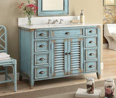 46 Inches Bathroom Vanity - Distressed Blue Abbevile  -28885BU Farmhouse style Distressed Bathroom Vanities