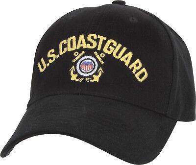 Coast Guard Baseball Hat - Black US Coast Guard Shield & Anchor Logo Adjustable Baseball Hat Cap