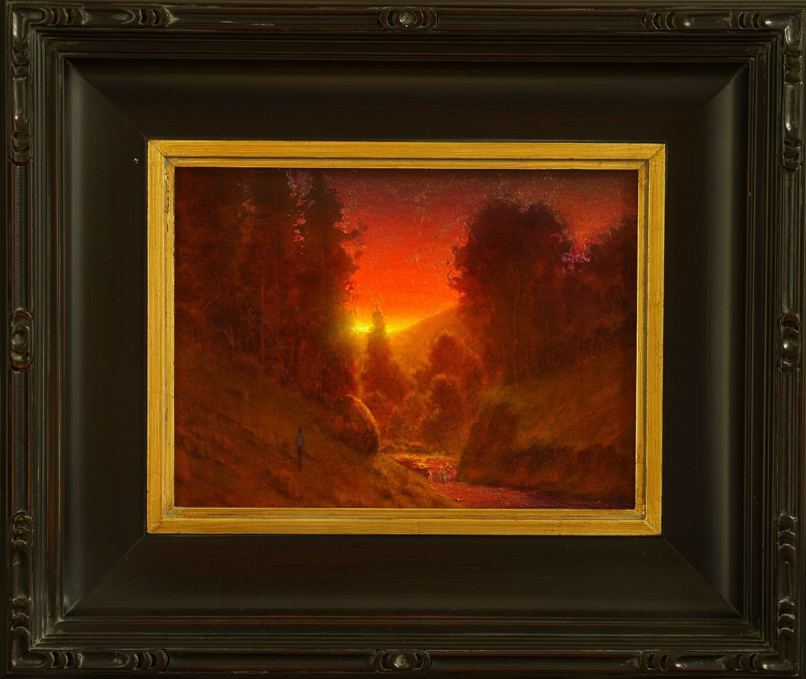 Купить original oil painting landscape signed on canvas vintage antique style 0179 COLE
